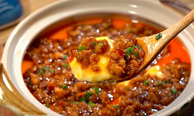 Trứng hấp sốt thịt băm kích thích vị giác