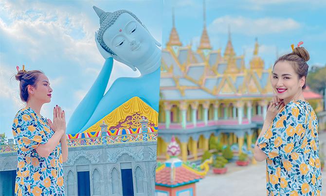 Diễm Hương ghé ngôi chùa tượng Phật nằm lớn nhất Việt Nam
