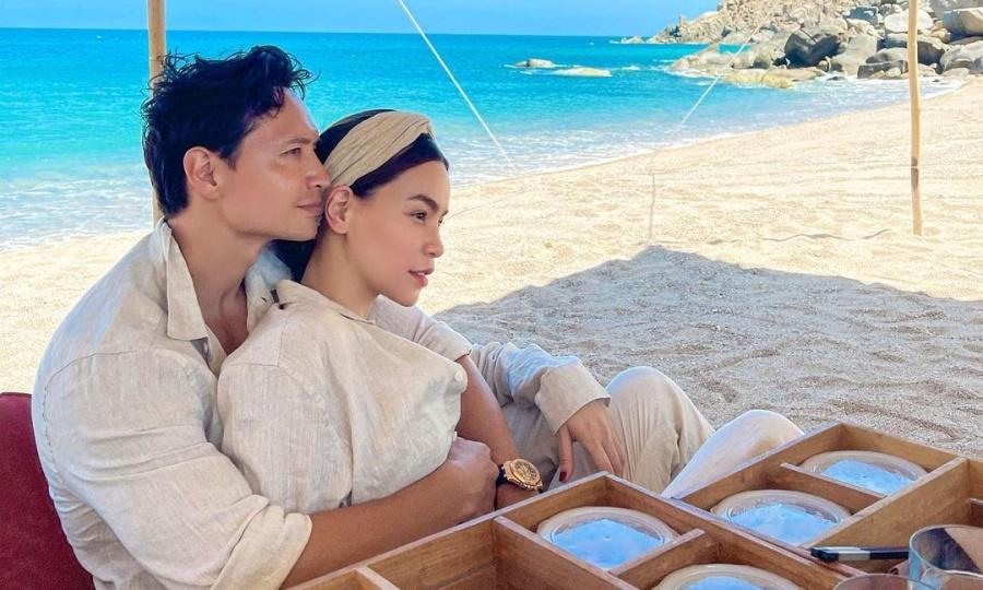 Vợ chồng Hồ Ngọc Hà dã ngoại trong resort 6 sao