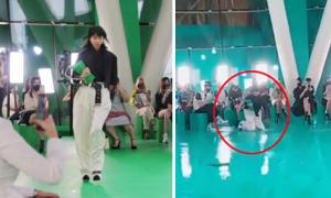 Người mẫu ngã mạnh trong show Louis Vuitton