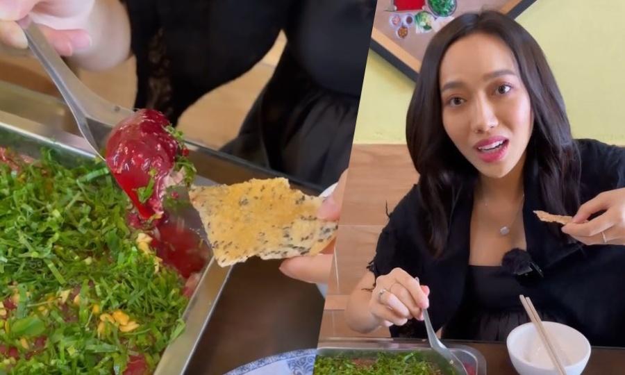 Diệu Nhi không dám ăn tiết canh vịt