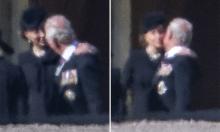 Kate an ủi bố chồng trong đám tang Hoàng thân Philip