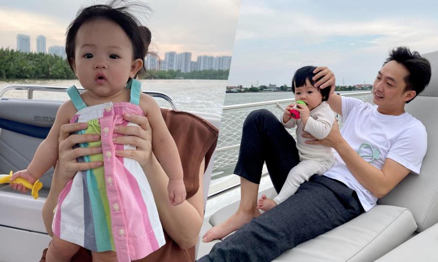 Cường Đôla đưa vợ con du ngoạn sông Sài Gòn
