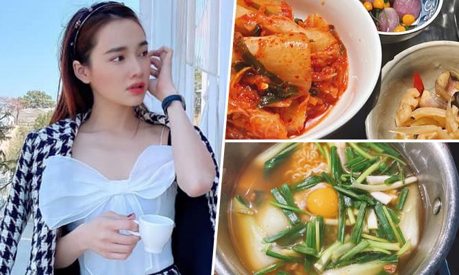 Nhã Phương ăn hết nồi mì kiểu Hàn để cày 'Hạ cánh nơi anh'