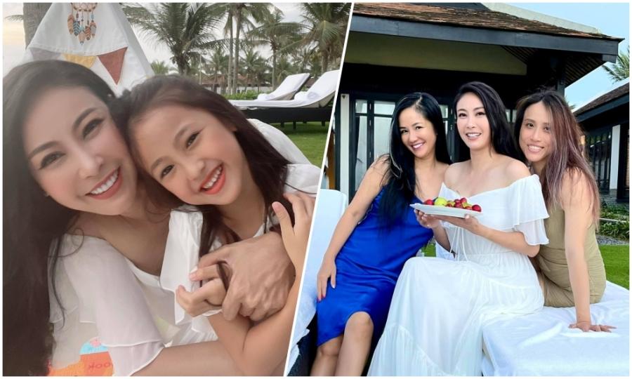 Hà Kiều Anh, Hồng Nhung đưa các con đi chơi trong resort cao cấp