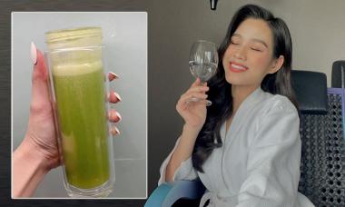Hoa hậu Đỗ Thị Hà nhập hội uống nước ép cần tây