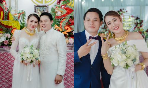 Cô dâu Hồ Bích Trâm diện trang phục cưới 100 triệu đồng