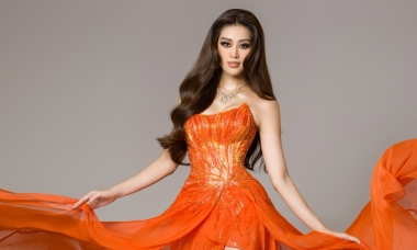 Váy dạ hội bán kết của Khánh Vân lấy cảm hứng từ hừng đông