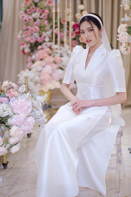Áo dài cưới cách tân cho cô dâu mùa hạ