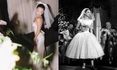 Ariana Grande diện váy cưới tối giản phong cách Audrey Hepburn
