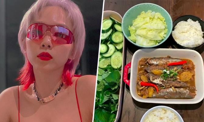 Tóc Tiên ăn cá kho với loại rau 'khiến nhiều người khóc thét'