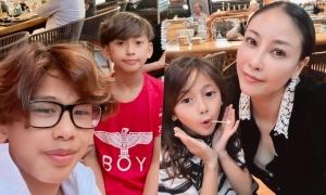 Hà Kiều Anh đưa ba con đi Mỹ