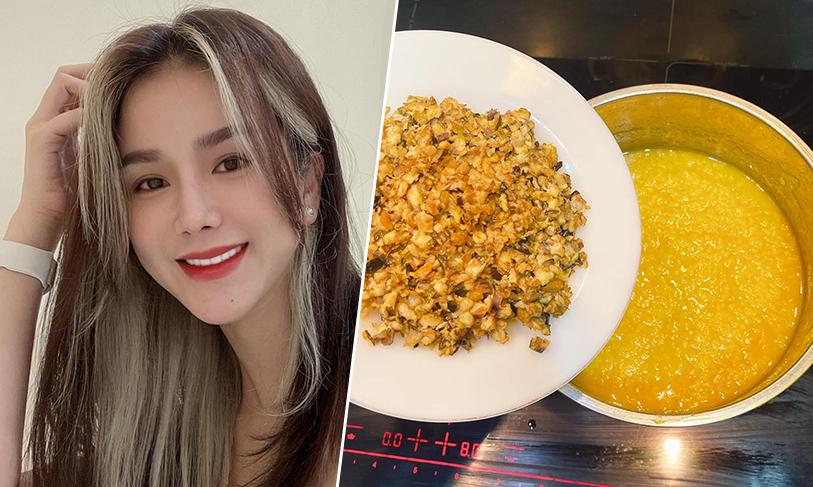 Diệp Lâm Anh nấu cháo lươn giàu dinh dưỡng cho hai con
