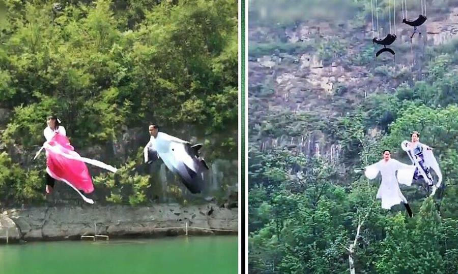 Du khách 'bay kungfu qua sông' ở Trung Quốc