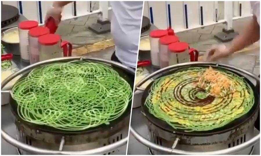 Bánh crepe 'mạng nhện' ở Trung Quốc