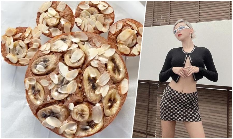 Tóc Tiên làm bánh chuối yến mạch ăn kiêng