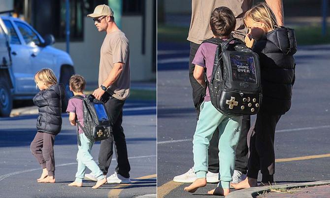 Hai con trai Chris Hemsworth đi chân đất mua sắm với bố