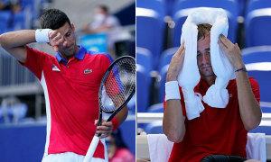 Các tay vợt Olympic chật vật thi đấu dưới nắng nóng