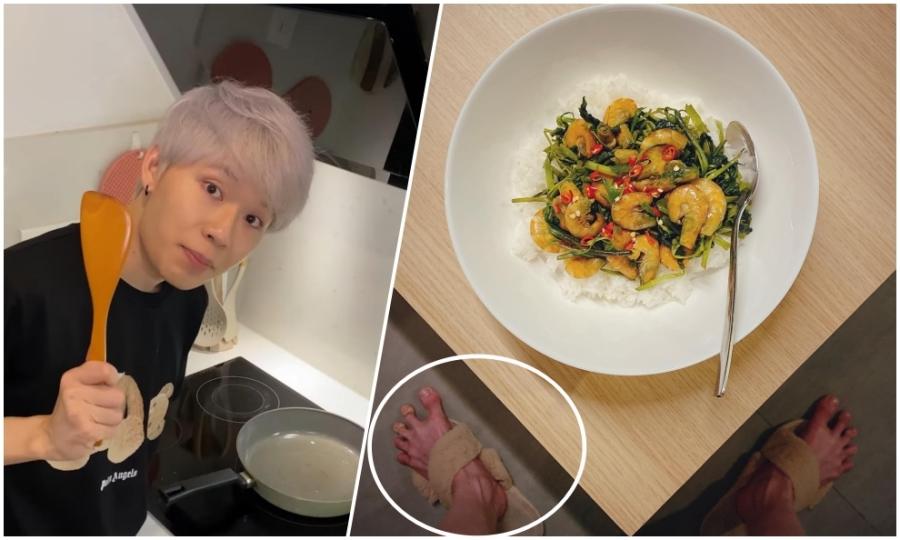 Chụp ảnh đồ ăn cùng bàn chân bá đạo, Quang Trung hút like