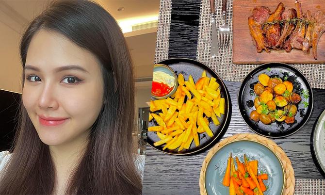 Bữa ăn 'ở cữ' thịnh soạn như nhà hàng 5 sao của Phanh Lee