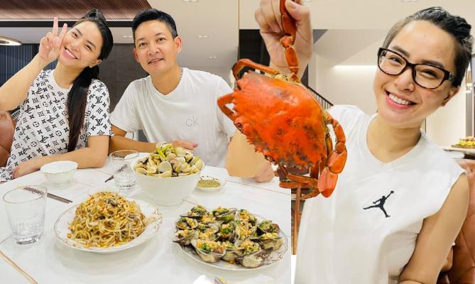 Mâm cơm toàn hải sản của Thành Đạt - Hải Băng