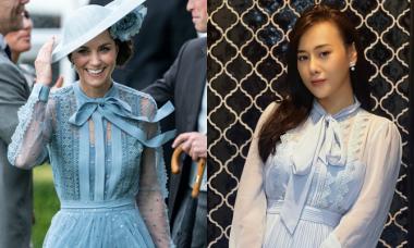 Phương Oanh mặc váy giống kiểu của Công nương Kate