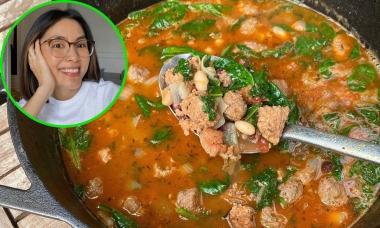 Tăng Thanh Hà nấu súp đậu trắng kiểu Italy