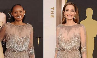 Con nuôi Angelina Jolie mặc lại váy Couture của mẹ
