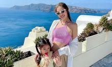 Diễm Trang làm tiệc sinh nhật con gái ở Santorini